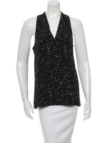Tibi Printed V-Neck Top w/ Tags None