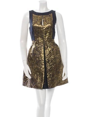 Tibi Pleated Brocade Dress