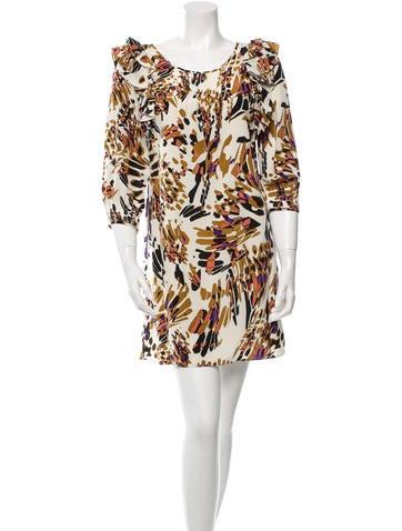 Tibi Long Sleeve Printed Silk Dress None