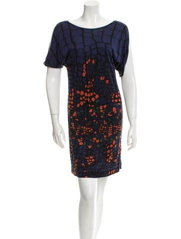 Printed Short Sleeve Mini Dress