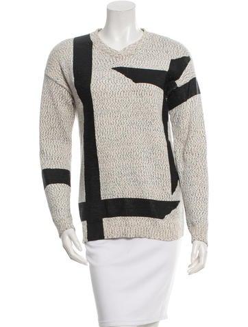 Tibi Patterned V-Neck Sweater None