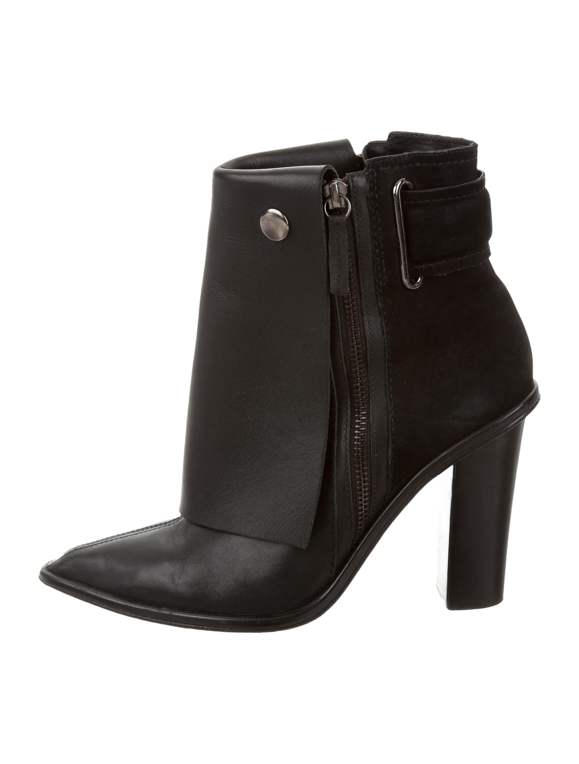 tibi leather pointed toe ankle boots shoes wti31096