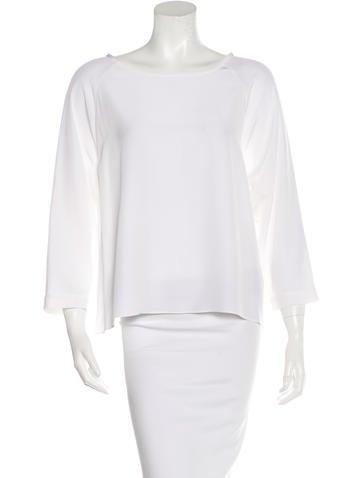 Tibi Long Sleeve Silk Blouse None