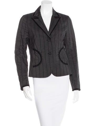 Tibi Striped Button-Up Blazer None