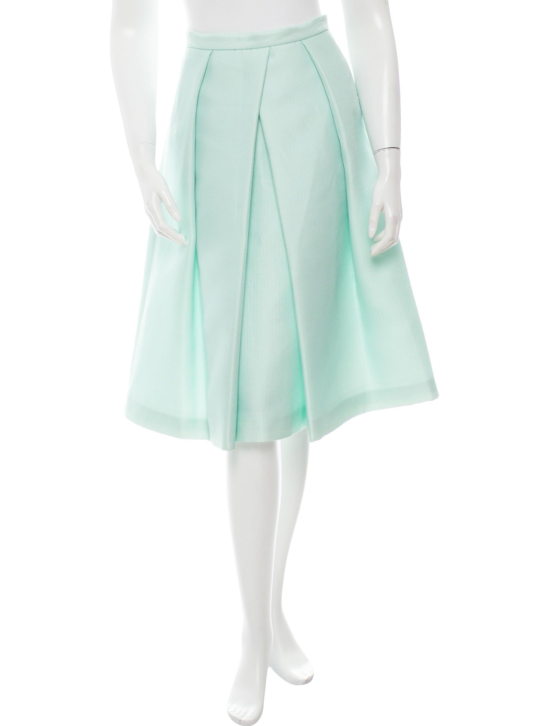 tibi pleated knee length skirt clothing wti32012 the