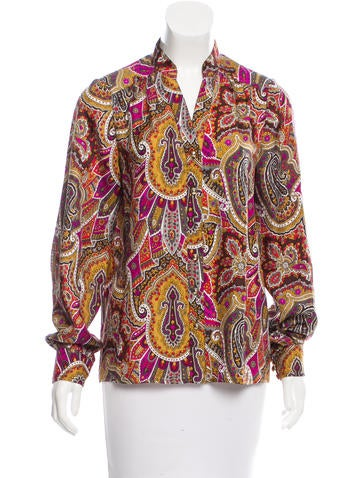 Tibi Silk Printed Top