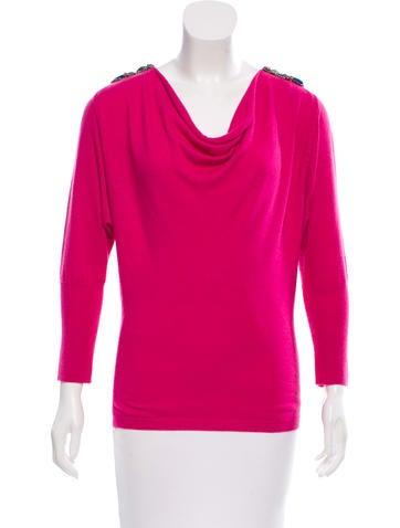 Tibi Wool-Blend Embellished Sweater None