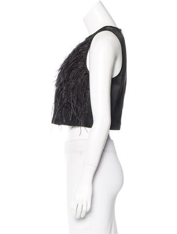 Cropped Ostrich Feather-Trimmed Blouse