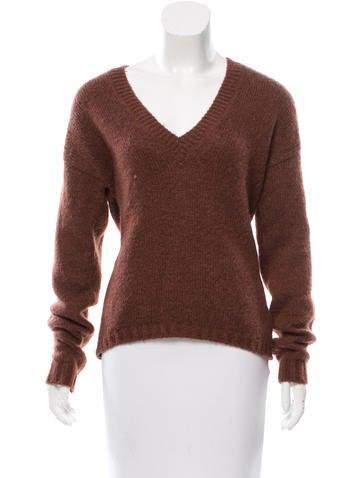 Tibi Mohair-Blend V-Neck Sweater None