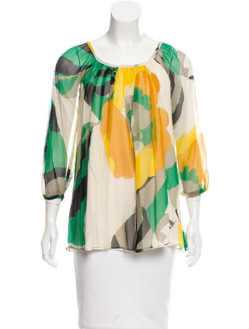 Tibi Silk Floral Print Blouse None