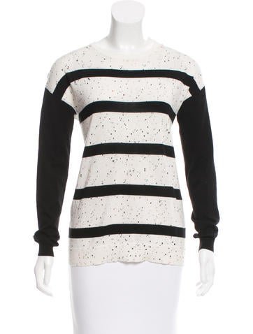 Tibi Patterned Long Sleeve Sweater None