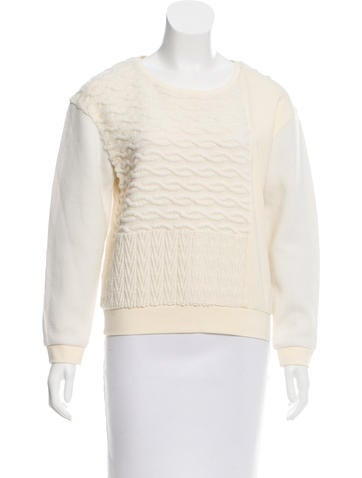 Tibi Mixed-Knit Sweatshirt None