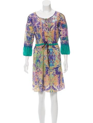 Tibi Silk Printed Dress None