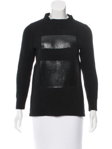 Tibi Long Sleeve Rib Knit Sweater None