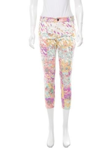 Tibi Floral Print Straight-Leg Jeans w/ Tags