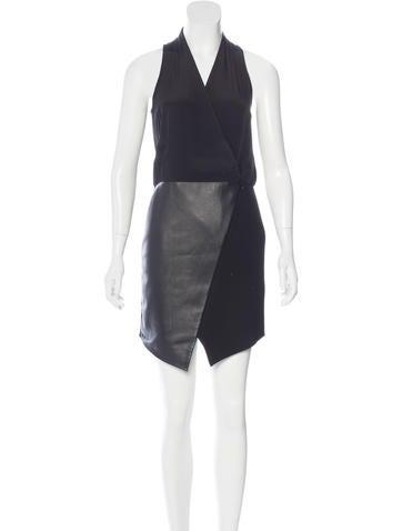 Tibi Leather-Paneled Mini Dress w/ Tags