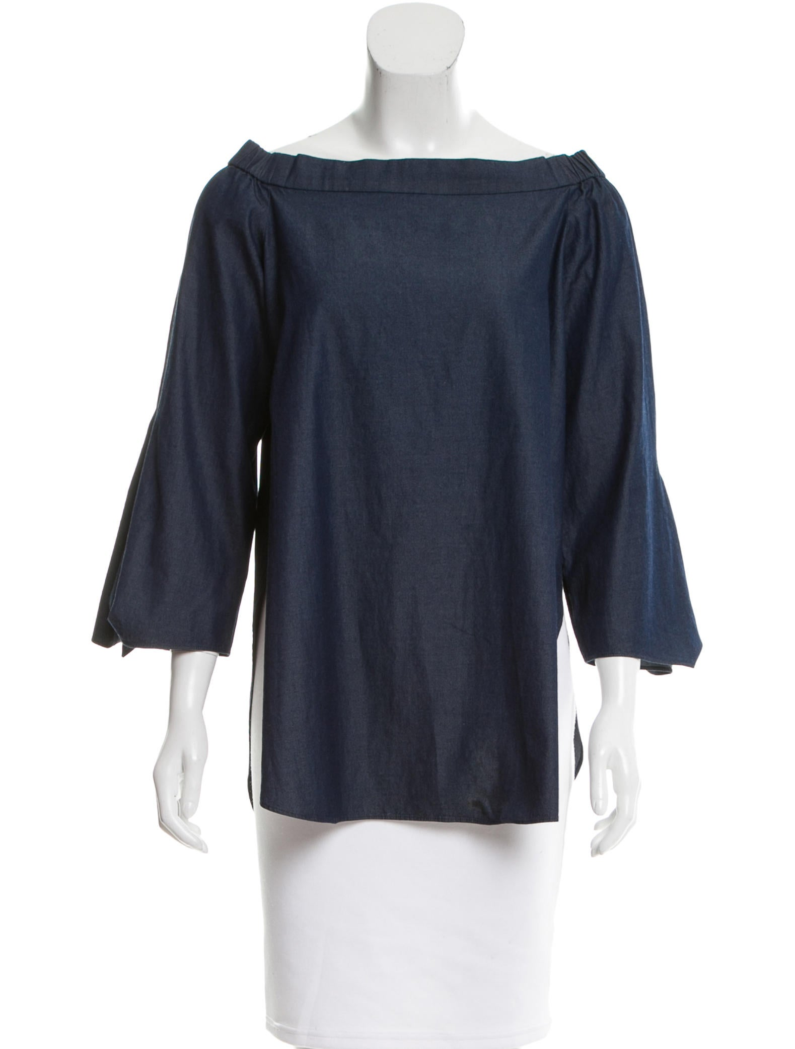 Tibi off the shoulder chambray top clothing wti34252 for Chambray top
