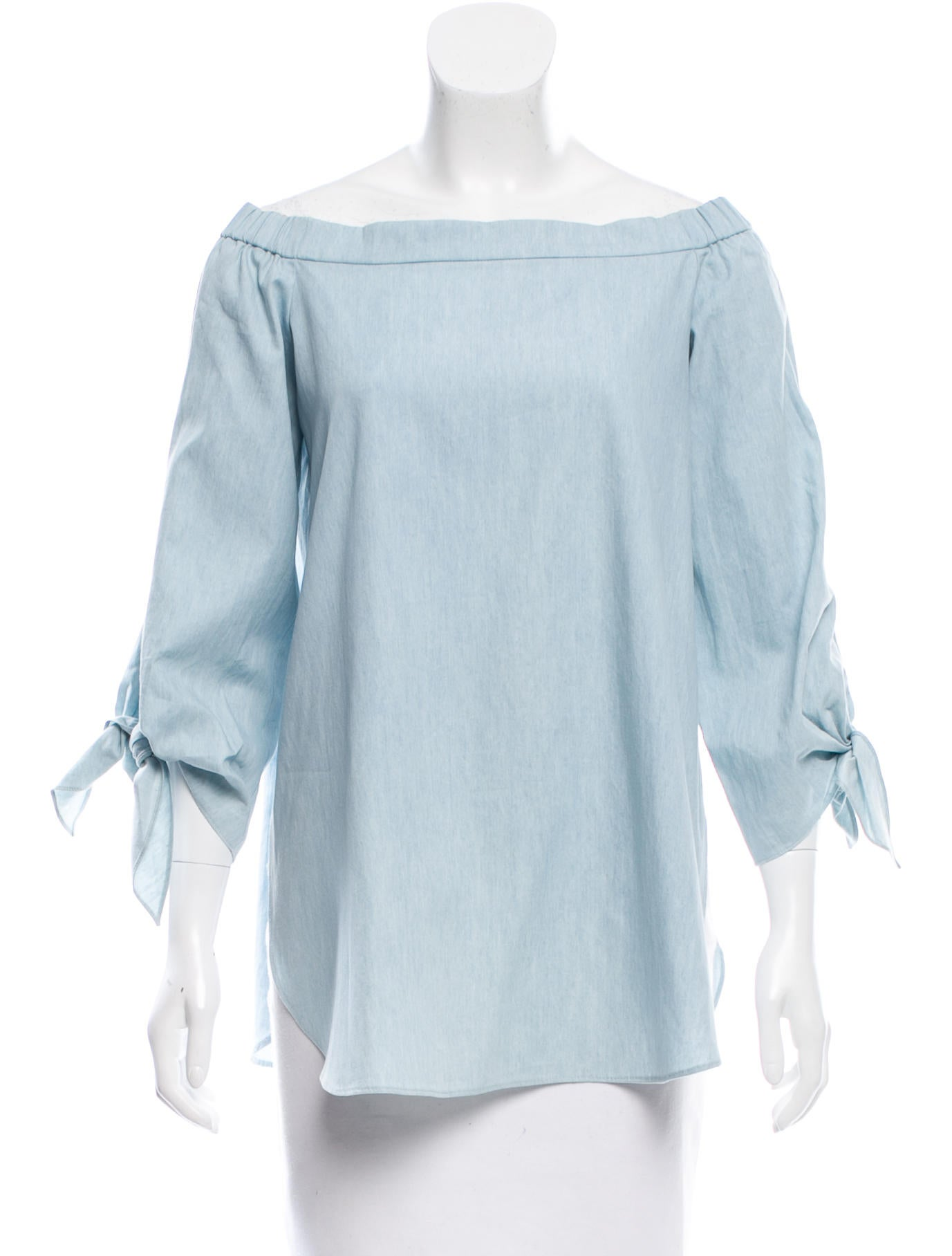 Tibi off the shoulder chambray top clothing wti34625 for Chambray top