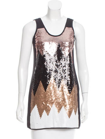 Tibi Sequin Silk Tunic None