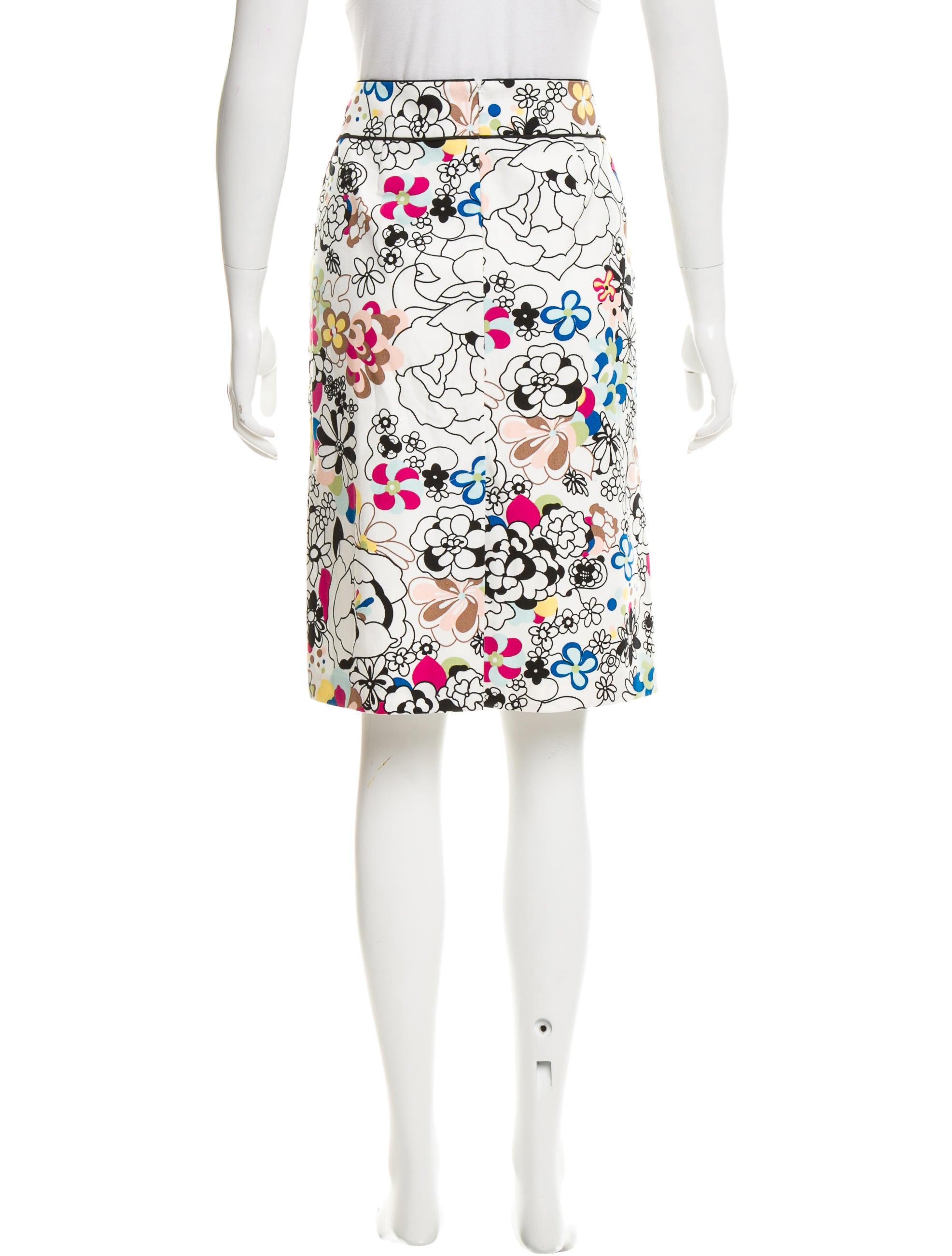 tibi floral print knee length skirt clothing wti35408