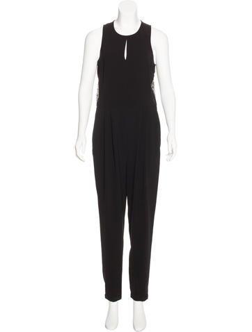 Tibi Lace-Paneled Sleeveless Jumpsuit None