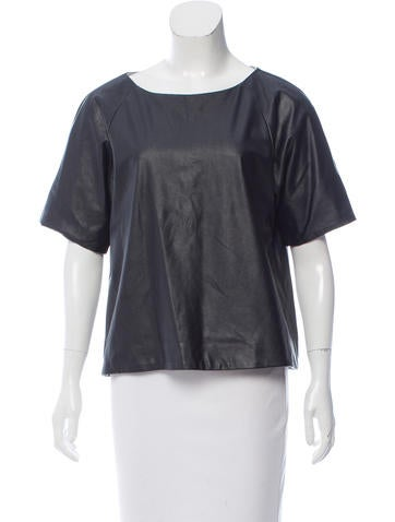 Tibi Short Sleeve Faux Leather Top None