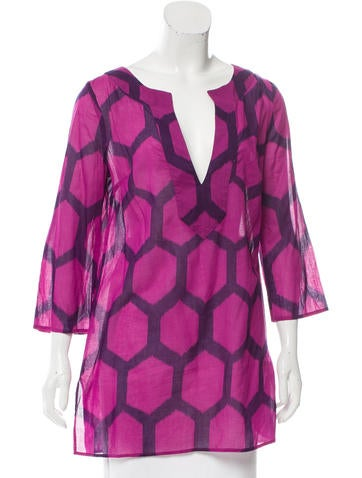 Tibi Printed Tunic Top None