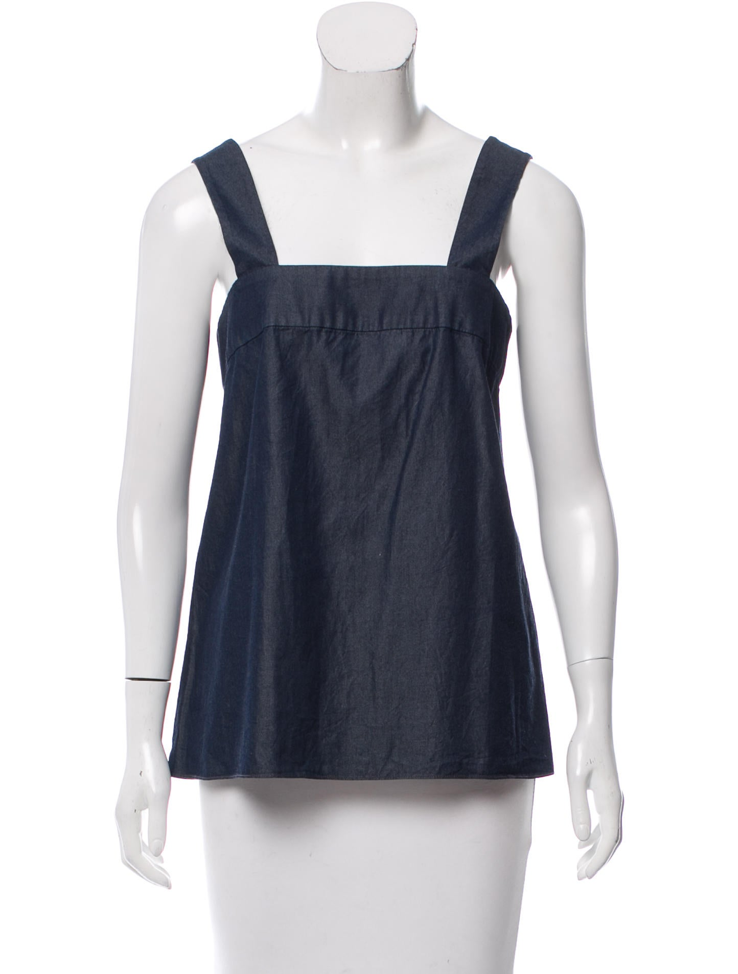 Tibi sleeveless chambray top clothing wti37755 the for Chambray top