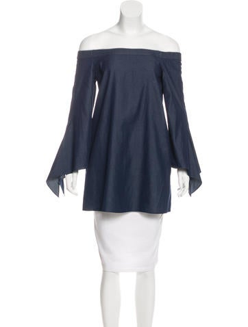 Tibi Chambray Off-The-Shoulder Tunic None