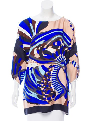Tibi Printed Silk Top None