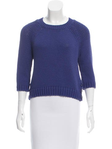 Tibi Cropped Button-Accented Sweater w/ Tags None