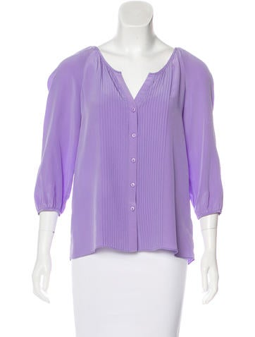 Tibi Silk Pleated Top None