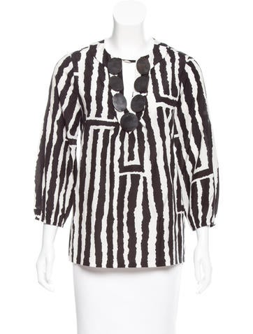 Tibi Silk-Blend Printed Blouse None