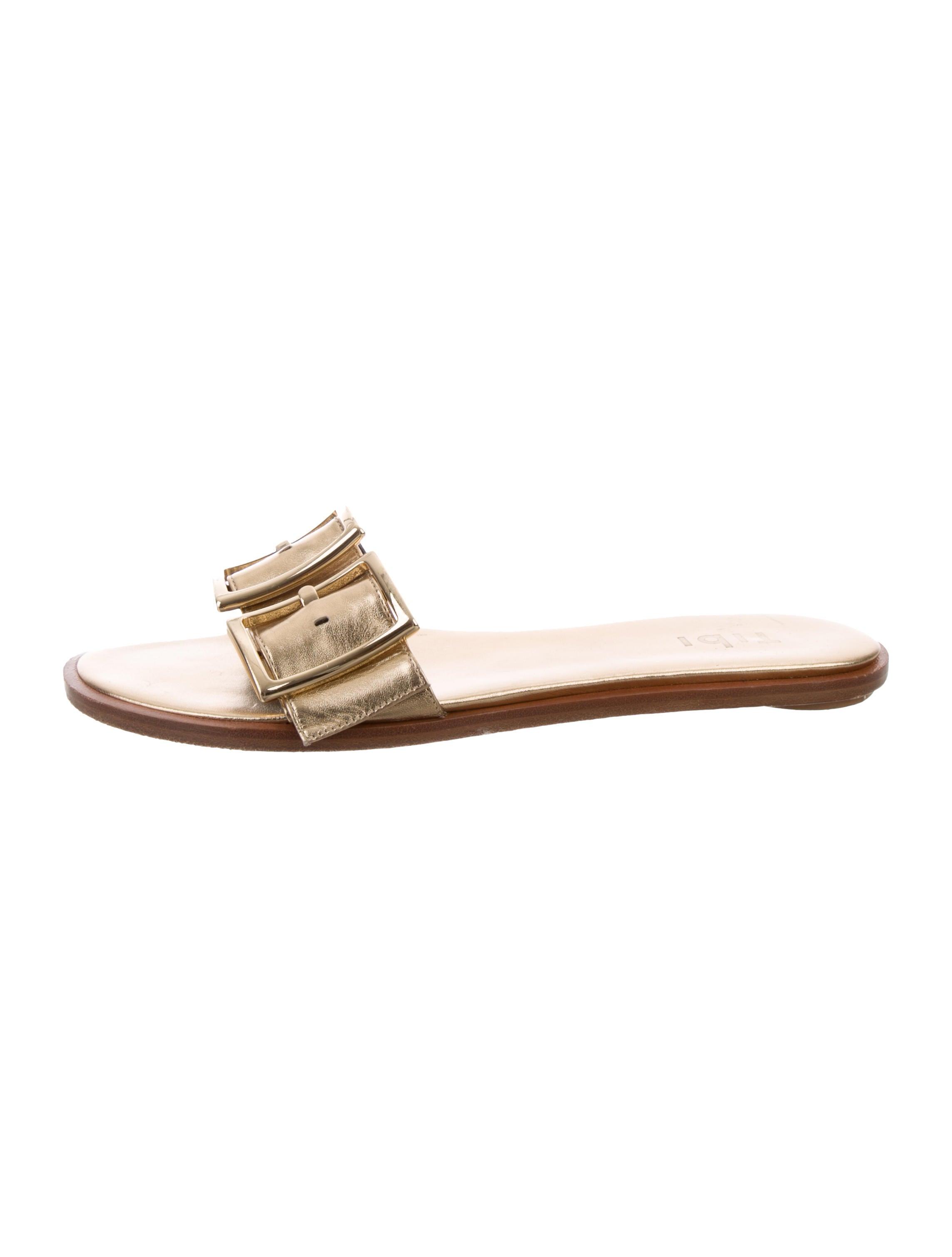 discount official brand new unisex cheap online Tibi Metallic Slide Sandals h3pRC