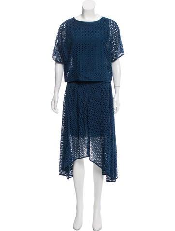 Eyelet Midi Skirt Set