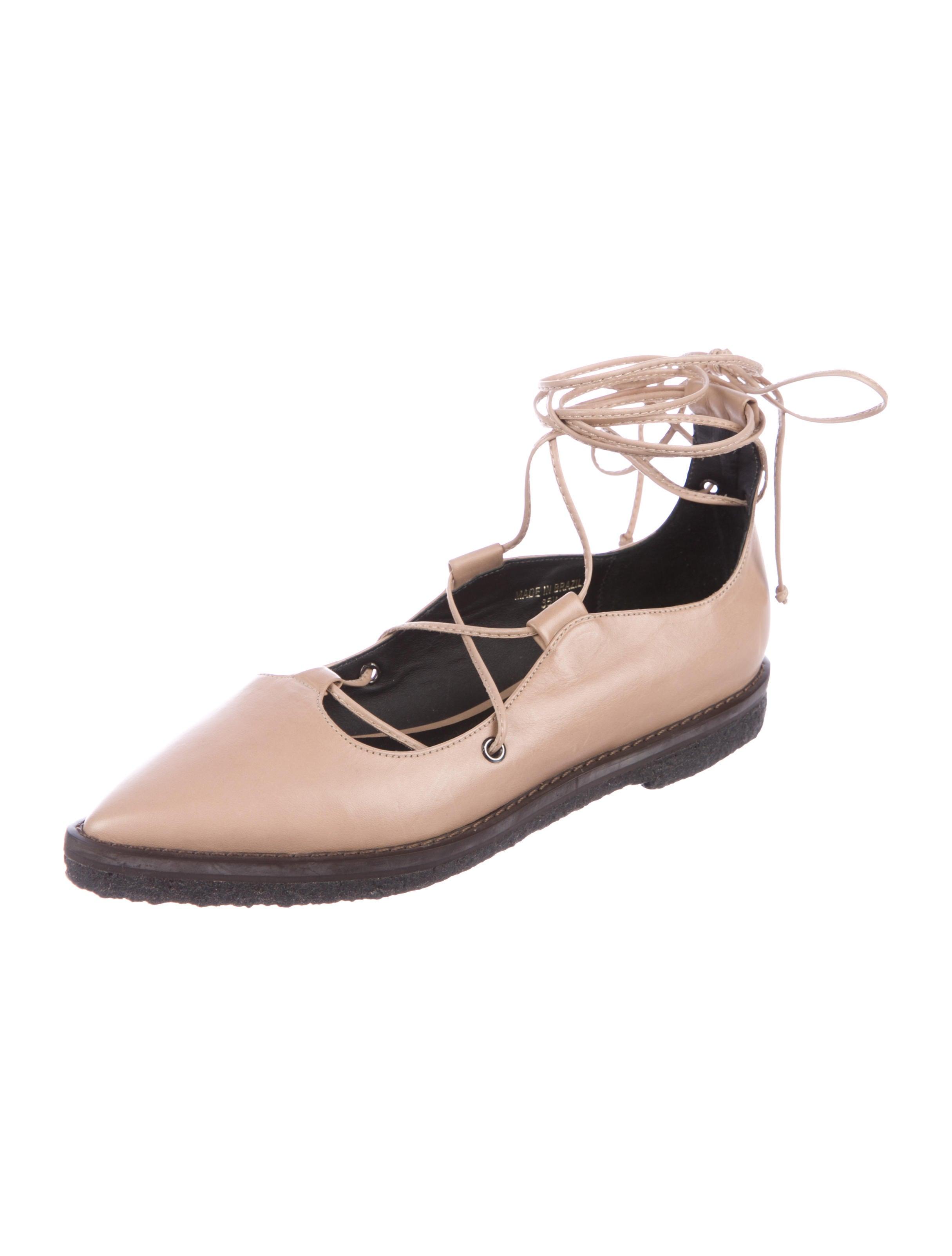 Tibi Leather Wrap-Around Flats discount big sale l1zm2p