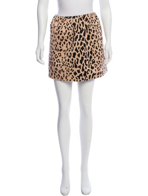 Tibi Leopard Print Mini Skirt Tan