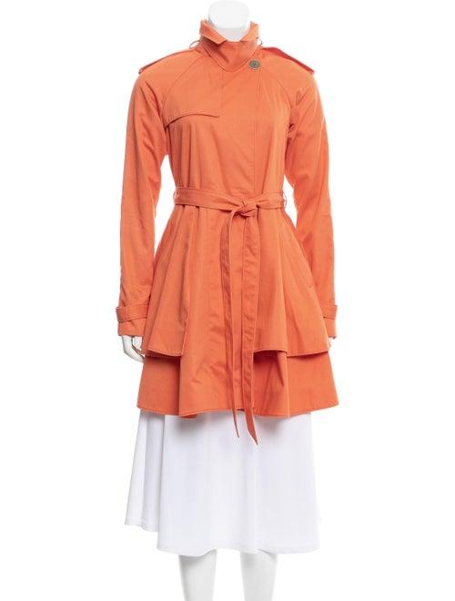 Tibi Peplum Trench Coat Orange
