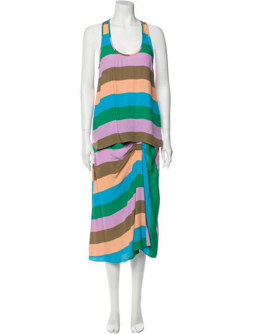 Tibi Striped Skirt Set Blue