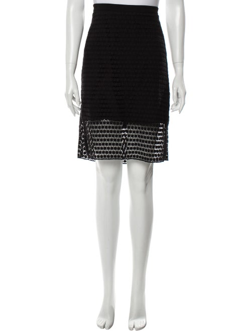 Tibi Embroidered Knee-Length Skirt Black