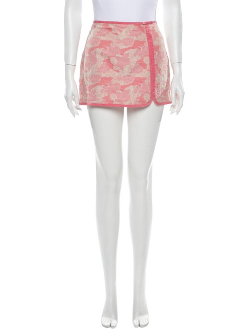 Tibi Printed Mini Skirt Pink