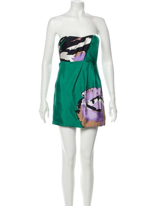 Tibi Silk Mini Dress Green