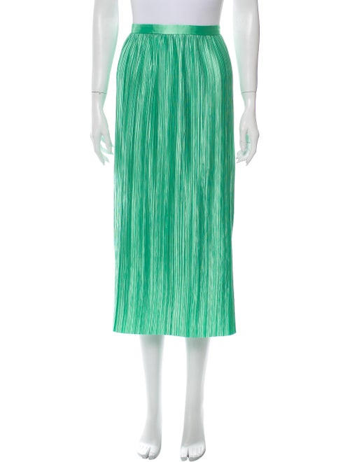 Tibi Pleated Accents Midi Length Skirt Green