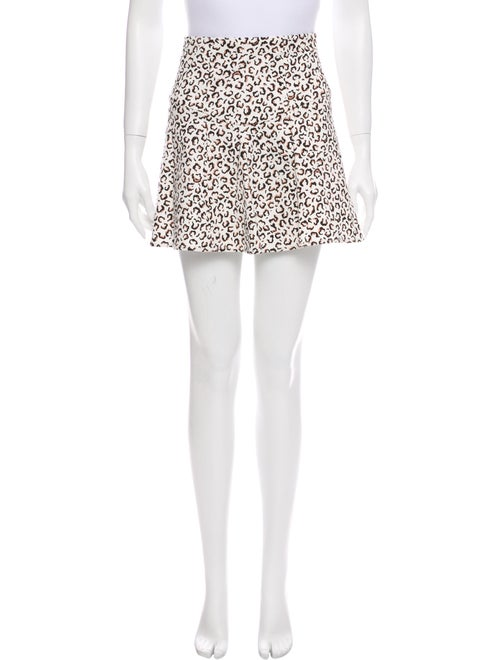Tibi Animal Print Mini Skirt White