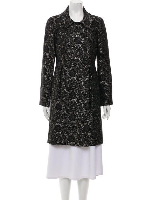 Tibi Lace Pattern Trench Coat Black