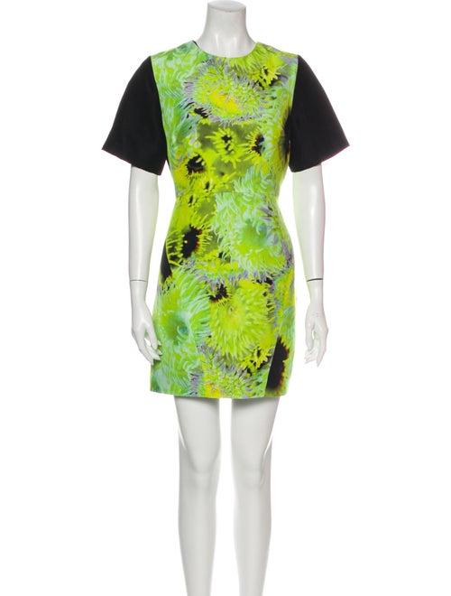 Tibi Printed Mini Dress Green