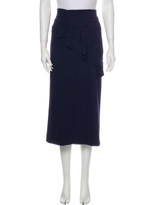 Tibi Ruffle Embellishment Midi Length Skirt Blue - image 1