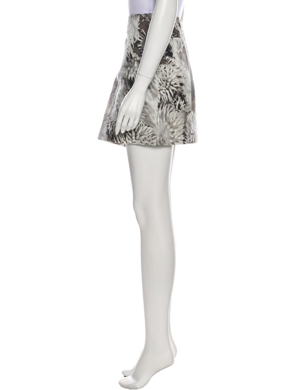 Tibi Floral Print Mini Skirt w/ Tags Grey - image 2