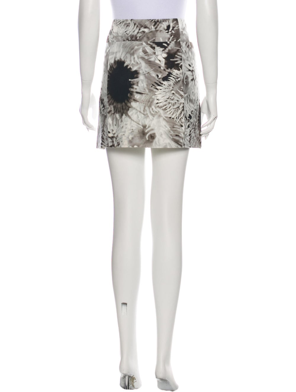 Tibi Floral Print Mini Skirt w/ Tags Grey - image 3