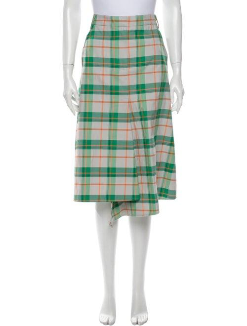 Tibi Plaid Print Knee-Length Skirt Green